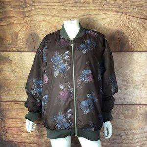 Asos  Bomber Jacket Black Blue Pink Floral XL